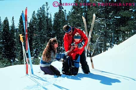 Stock Photo #3375: keywords -  adventure alpine baby cross-country exercise families family fun horz outdoor released ski snow sport winter