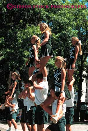 Stock Photo #2733: keywords -  acrobat acrobatic acrobatics acrobats balance balanced balances balancing cheerleader collage cooperate cooperation coordinate coordinated coordination group lift men not people perform person practice released skill skilled skills strength student tall teamwork vert women