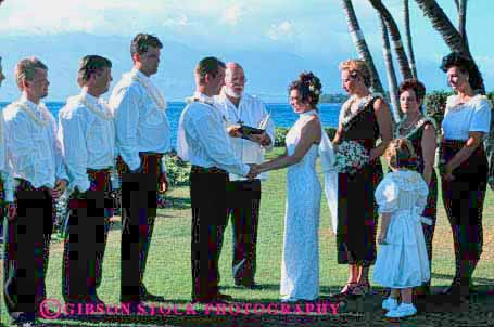 Stock Photo #2764: keywords -  affection bride celebrate ceremony commitment family groom group hawaii horz husband love man marriage not outdoor released share together tropical vow wedding wife woman