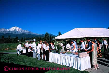 Stock Photo #2765: keywords -  affection bride buffet california celebrate commitment family groom horz husband love man marriage mount outdoor released share shasta table together vow wedding wife woman