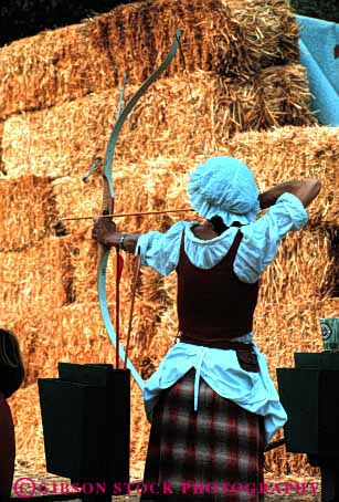 Stock Photo #2789: keywords -  actor actress archer archery arrow bow california costume entertain fair faire festival fun marin medieval not party performance play pleasure reenact released renaissance role show summer target vert woman