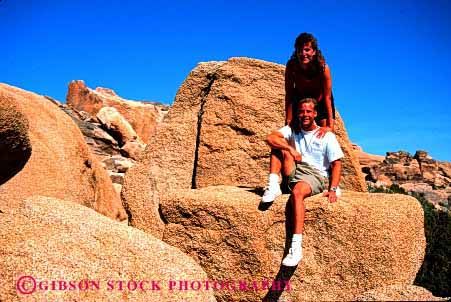 Stock Photo #2804: keywords -  affection california couple desert fun hike horz husband intimate joshua national outdoor park play recreation released rock share summer together tree wife