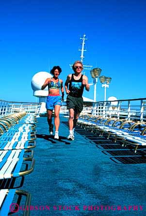 Stock Photo #2837: keywords -  affection alone couple cruise deck exercise fitness fun husband intimate jog jogging physical play private released run running share ship solitude summer sun sunshine together travel vacation vert wife workout