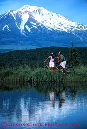 Stock Photo #2838: keywords -  affection alone bicycle bike california couple exercise fitness fun husband intimate mount mountain play private reflection released share shasta solitude summer sun sunshine together travel vert water wife