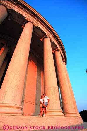 Stock Photo #2856: keywords -  affection architecture column couple dc hug husband intimate jefferson love memorial released share summer tall together vert washington wife