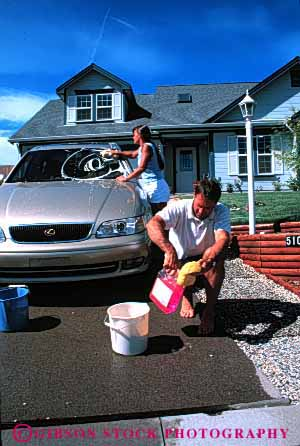 Stock Photo #2868: keywords -  affection car clean couple home husband intimate love released residential share suds summer team together vert wash water wife