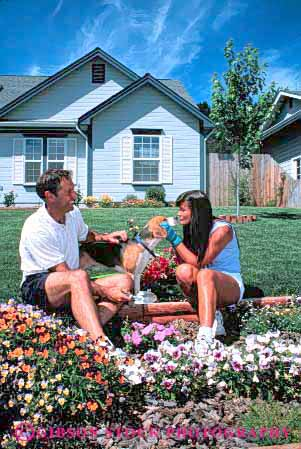 Stock Photo #2870: keywords -  affection couple decorate dog flowers garden gardening home house husband intimate landscape love plant released residential share summer together vert wife