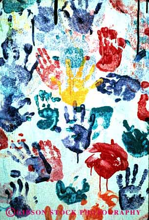 Stock Photo #2906: keywords -  abstract art child colorful drip finger hand outline paint palm play vert