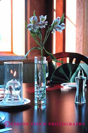 Stock Photo #2910: keywords -  and candle flower light romantic setting soft table vert