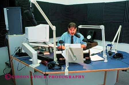 Stock Photo #3005: keywords -  air announcer audio broadcast disk dj employee equipment hear horz income job jockey language man media occupation profession public radio released sound speak speaking speaks studio talk talking talks technology telecommunicate waves word work
