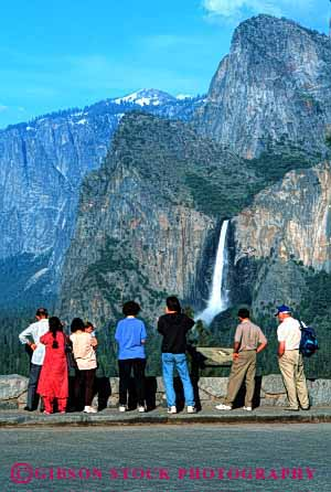 Stock Photo #3031: keywords -  bridalvail explore fall group landscape mountain national not park recreation released scenic see site summer tourist traveler vacation vert visitor water waterfall wilderness yosemite