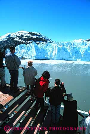 Stock Photo #3034: keywords -  bay cruise explore glacier group ice national not park recreation released see ship site summer tourist traveler vacation vert visitor