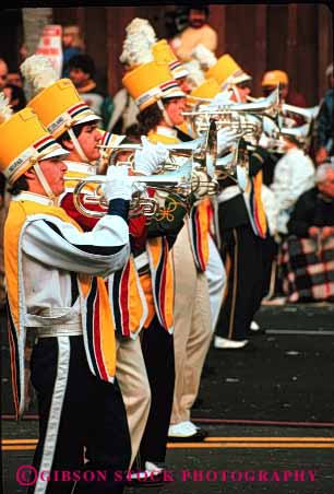 Stock Photo #3072: keywords -  band celebrate colorful coordinate horn instrument marching move music musician noise not parade performance practice released row section show sound team together uniform vert walk wind