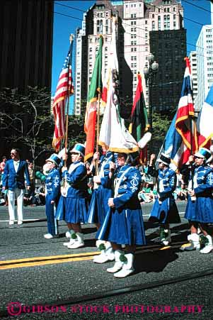 Stock Photo #3074: keywords -  celebrate color colorful coordinate flag guard marching move music musician noise not parade performance practice released row show sound team together uniform vert walk
