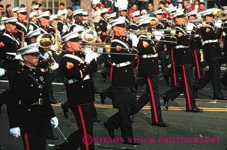 Stock Photo #3075: keywords -  band celebrate colorful coordinate horz marching marines military move music musician noise not parade performance practice released row show soldier sound team together trombone uniform walk