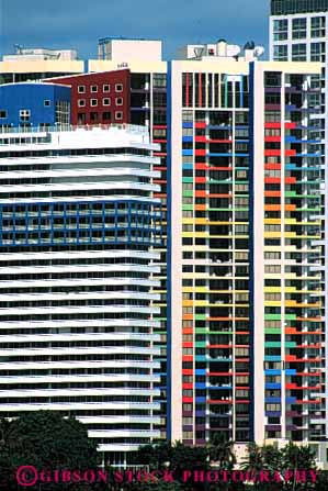 Stock Photo #3097: keywords -  apartment architecture bright buildings colorful condominium dense florida grid high home miami pattern residential rise square tall urban vert