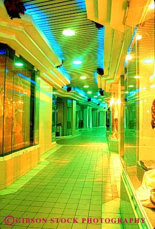 Stock Photo #3104: keywords -  abstract architecture bright color colorful commercial corridor design geometric geometry hall hallway interior lighting mixed night office pattern vert