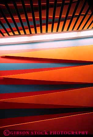 Stock Photo #3123: keywords -  abstract angle architecture bright color colorful design geometric geometry interior lighting lobby pattern triangle vert wall