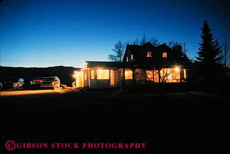 Stock Photo #3127: keywords -  agriculture architecture bright dark dusk farm farmhouse farms home homes horz house houses illuminate lighting lights night released residence rural safe security