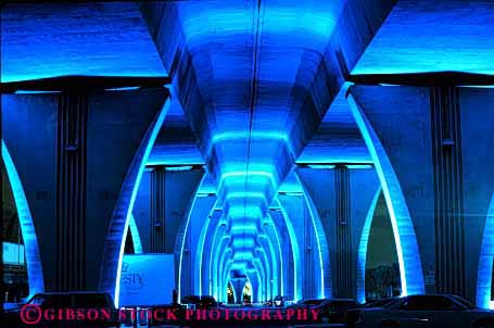 Stock Photo #3132: keywords -  abstract arch architecture blue bridge bright color design florida geometric geometry horz interior lighting miami night pattern