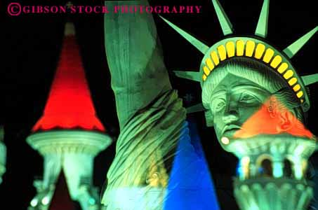 Stock Photo #3137: keywords -  abstract architecture bright color colorful cone design double exposure horz las liberty lighting nevada night of pattern statue triangle vegas