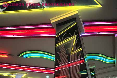 Stock Photo #3141: keywords -  abstract architecture bright color colorful design geometric geometry horz lighting neon night pattern