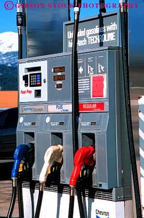 Stock Photo #3143: keywords -  fuel gas gasoline handle hose industry machine nozzle petroleum pump service station transportation vert