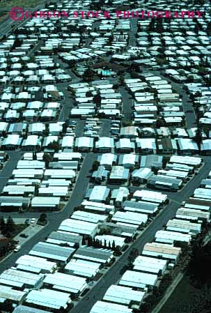 Stock Photo #3190: keywords -  aerial bare boxes california community concord home house mobile movable neighborhood park pattern portable relocate same square stark temporary vert
