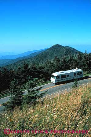 Stock Photo #3205: keywords -  blue carolina convenient drive highway home large mitchell motor motorhome mount mountains north parkway recreational ridge rv travel vacation vehicle vert