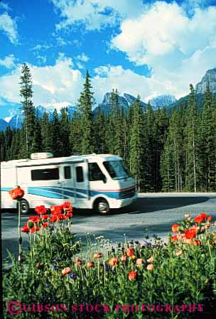 Stock Photo #3208: keywords -  banff canada convenient drive highway home large motor motorhome national park recreational rv travel vacation vehicle vert
