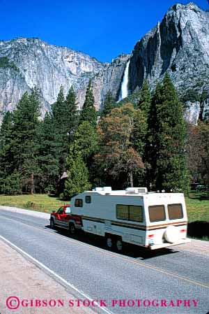 Stock Photo #3212: keywords -  california camp camper convenient fall highway national park pick pull recreational rv trailer travel truck up vacation vehicle vert waterfall yosemite