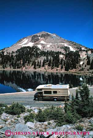 Stock Photo #3214: keywords -  california camp camper convenient highway lassen national park recreational rv travel vacation vehicle vert