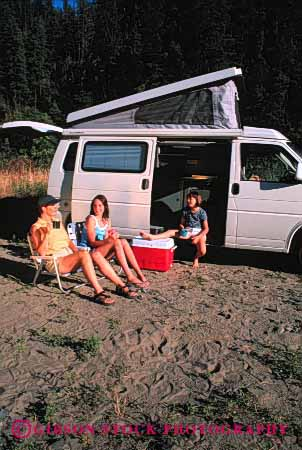 Stock Photo #3217: keywords -  camp camper children convenient daughter family girl highway mother recreational relax released rv travel vacation vehicle vert