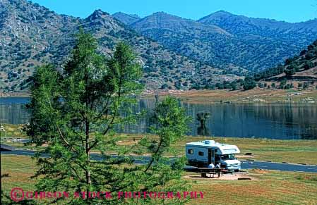Stock Photo #3227: keywords -  alone california camp camper convenient highway horz kaweah lake peaceful private quite recreational rv solitude travel vacation vehicle water