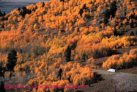 Stock Photo #3229: keywords -  aspen autumn camp camper convenient fall galena highway horz idaho landscape orange pick pull recreational rv scenic trailer travel truck up vacation vehicle