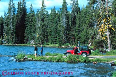 Stock Photo #3234: keywords -  access auto back car country diamond drive four horz lake landscape oregon recreational scenic shore sport suv utility vehicle water wheel