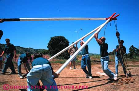 Stock Photo #4007: keywords -  activity adolescent children club cooperate craft frame group horz learn lift mariner pole practice raise scout scouts skill summer team teamwork teenage together
