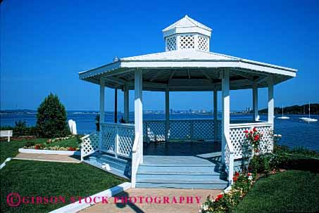 Stock Photo #4028: keywords -  clean decorate design eight exterior flower gazebo geometric geometry home horz house landscape lawn paint residential shade side structure summer white wood yard