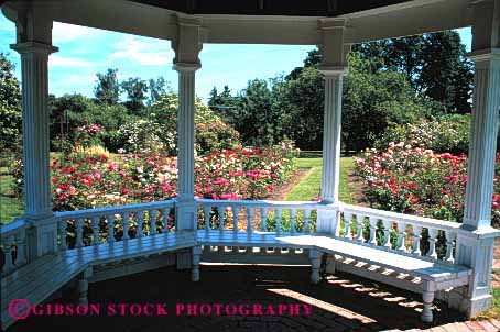 Stock Photo #4029: keywords -  bench decorate design exterior flower gazebo home horz house inside landscape lawn residential rose shade view wood yard