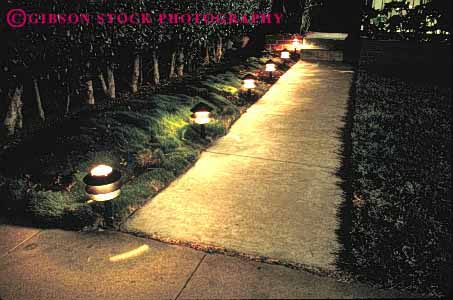 Stock Photo #4054: keywords -  design garden guide home horz house landscape light lighted lighting low night outdoor path residential route safety security sidewalk trail voltage walk walkway yard