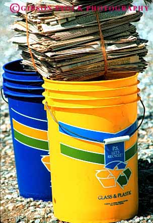 Stock Photo #4081: keywords -  bucket containers curb household industry material pickup plastic recycle recycling residential resource reuse vert