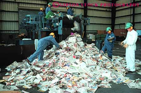 Stock Photo #4094: keywords -  bale california county crew horz industry job labor material newspaper occupation paper process recycle recycles recycling resource reuse richmond sort team west