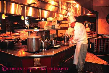 Stock Photo #4119: keywords -  chef cook cooking employee food horz job kitchen labor occupation prepare process profession restaurant service stove