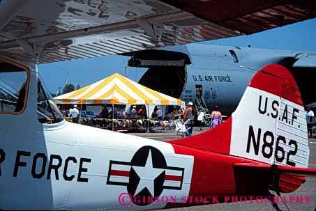 Stock Photo #4135: keywords -  air airport california craft demonstrate event horz outdoor plane public redding show summer tour vintage