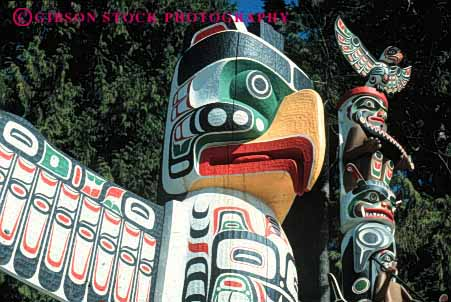 Stock Photo #4175: keywords -  american canada carve craft decorate horz indian native paint park poles stanley symbol totem vancouver wood worship