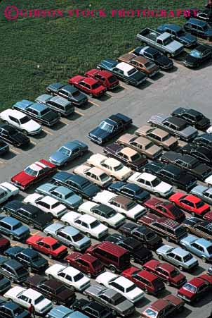 Stock Photo #4192: keywords -  aerial arrange car countless lot many numerous park parking pattern row tight vert