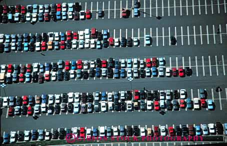 Stock Photo #4195: keywords -  aerial car countless find grid horz look lost lot many park parking pattern row search