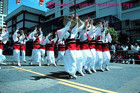 Stock Photo #4243: keywords -  annual asian blossom celebrate celebration cherry color colorful costume dance display ethnic event festival francisco horz japanese minority music parade performance repeat repetition san show together uniform unity white women