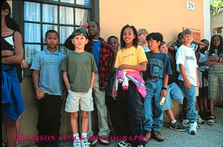 Stock Photo #4276: keywords -  adolescent african american boy boys child children class educate education elementary ethnic field fifth girl girls grade group horz kid kids learn minority mix race school students study together trip trips young youth