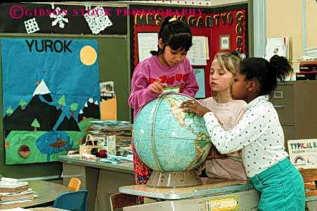 Stock Photo #4286: keywords -  adolescent african american asian child children class classroom educate education elementary ethnic forth fourth geography girl girls globe grade group horz kid kids learn minority mix race released school students study together young youth